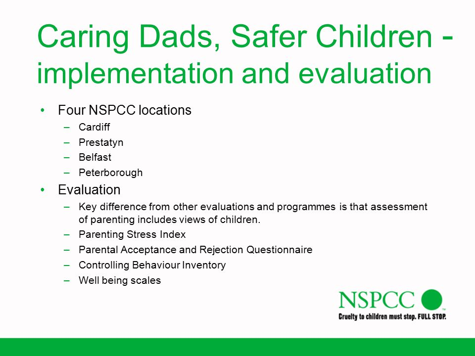 Caring Dads, Safer Children - implementation and evaluation