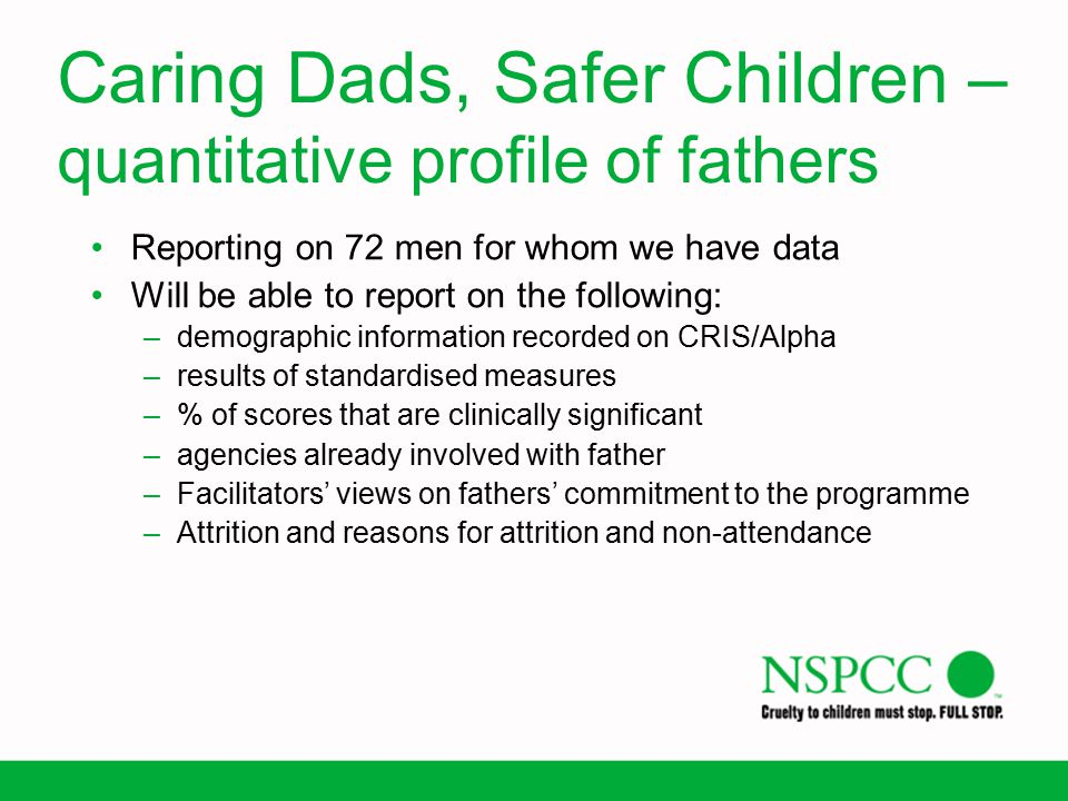 Caring Dads, Safer Children – quantitative profile of fathers