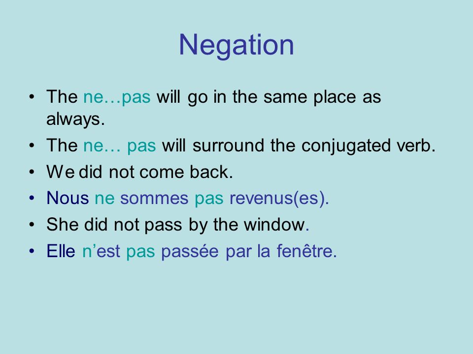 Negation The ne…pas will go in the same place as always.