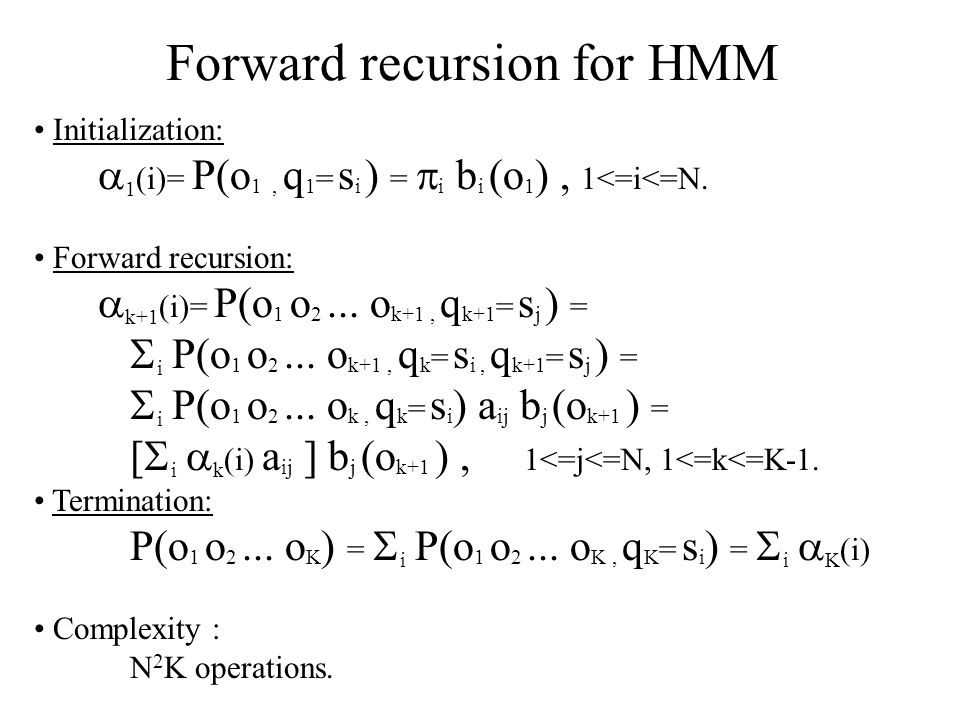 Forward recursion for HMM
