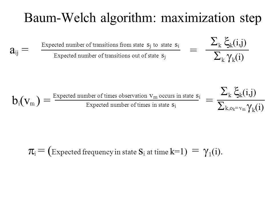Baum-Welch algorithm: maximization step