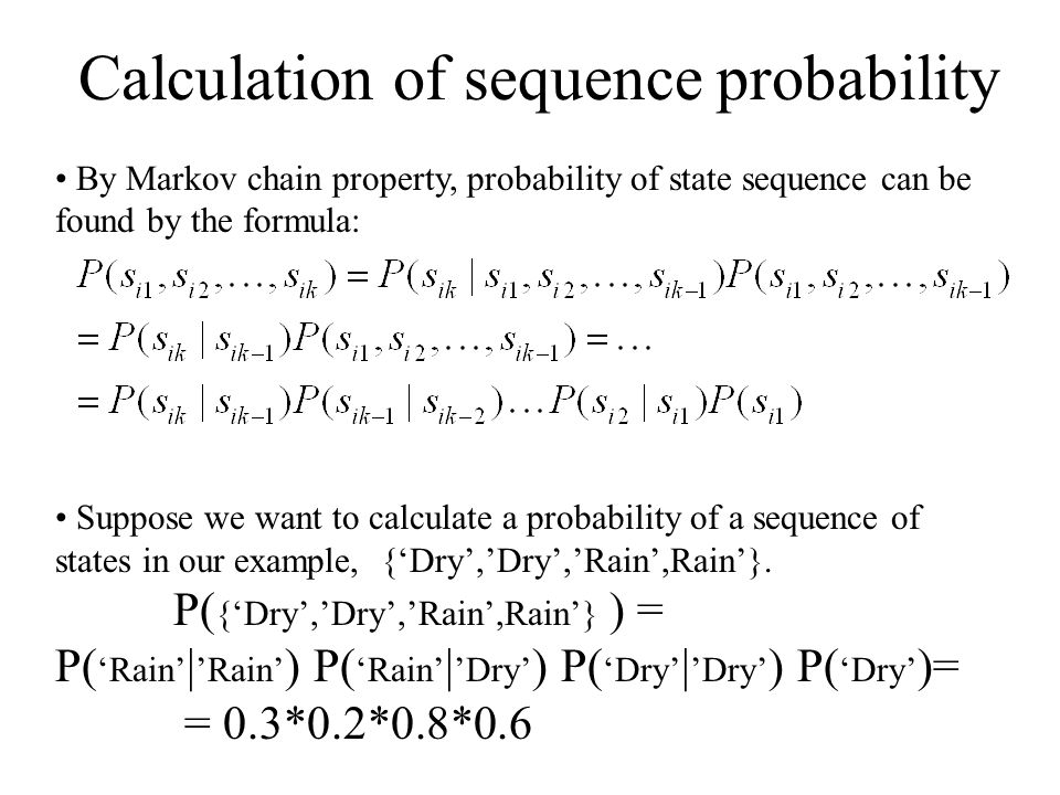 Calculation of sequence probability