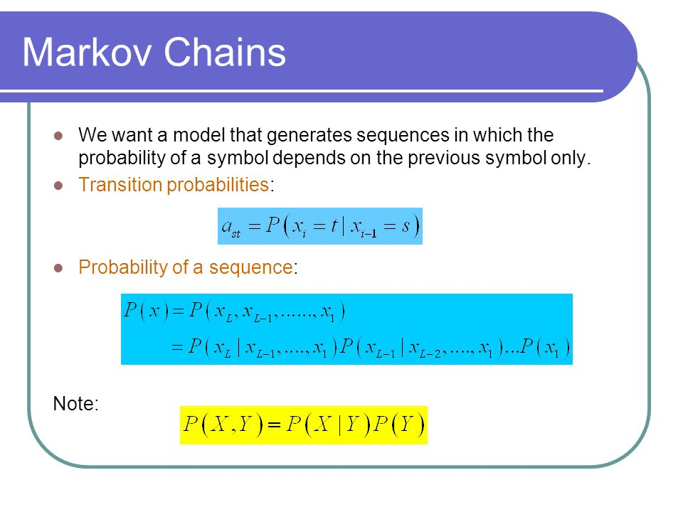 Markov Chains We want a model that generates sequences in which the probability of a symbol depends on the previous symbol only.