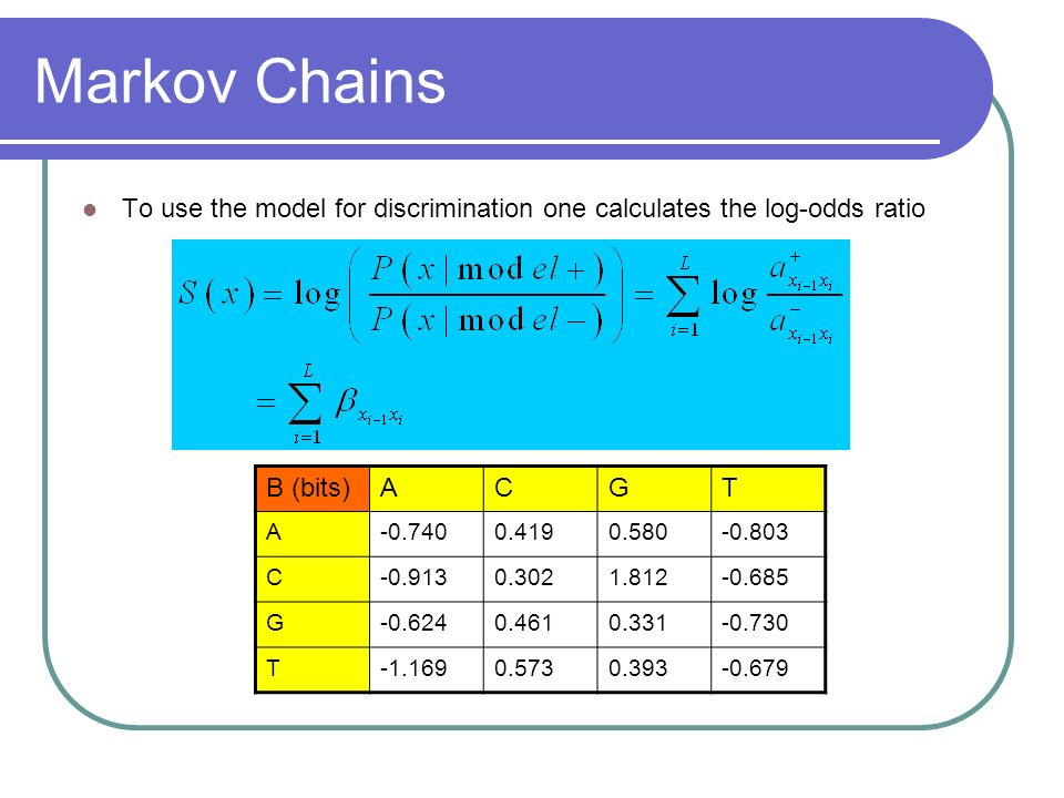 Markov Chains To use the model for discrimination one calculates the log-odds ratio. Β (bits) A. C.