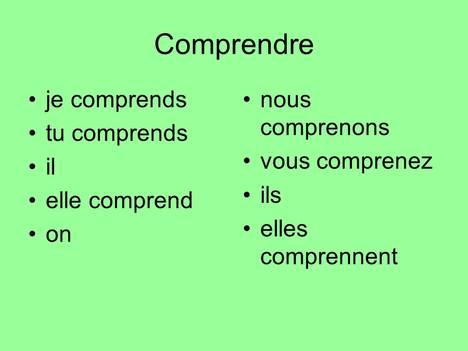 Comprendre je comprends tu comprends il elle comprend on