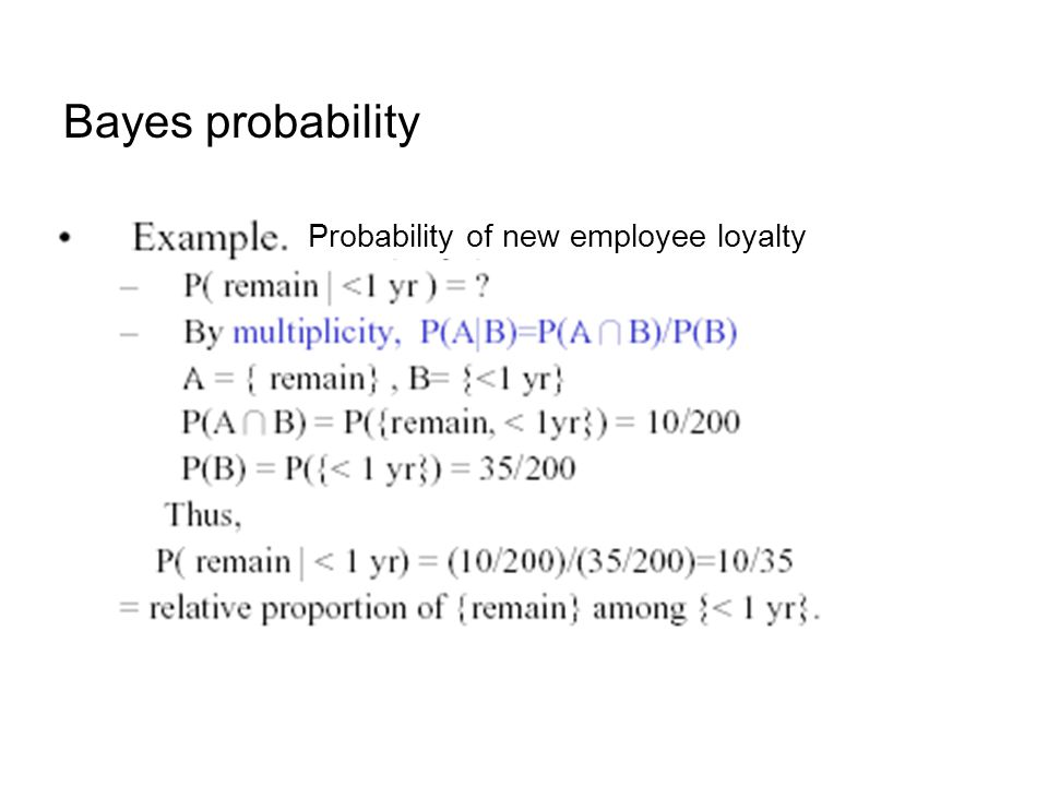 Bayes probability Probability of new employee loyalty