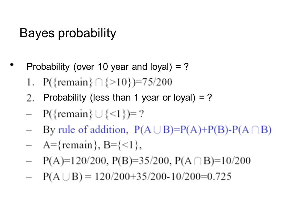 Bayes probability Probability (over 10 year and loyal) =