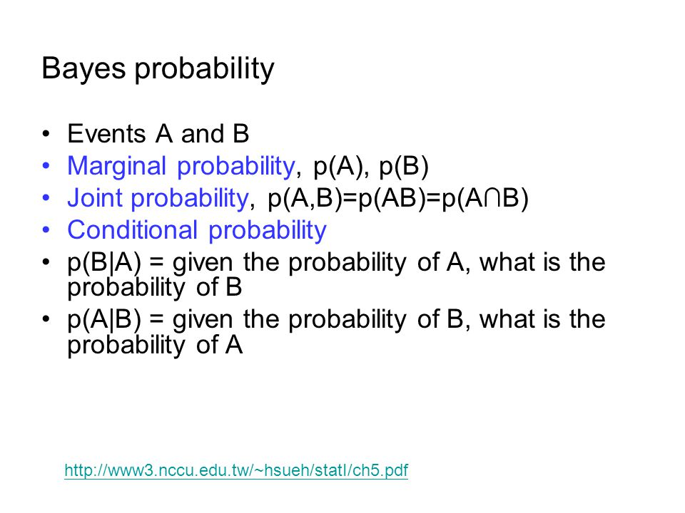 Bayes probability Events A and B Marginal probability, p(A), p(B)