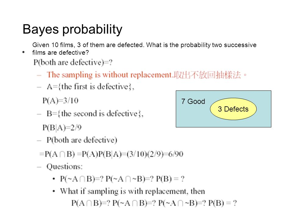 Bayes probability 7 Good 3 Defects
