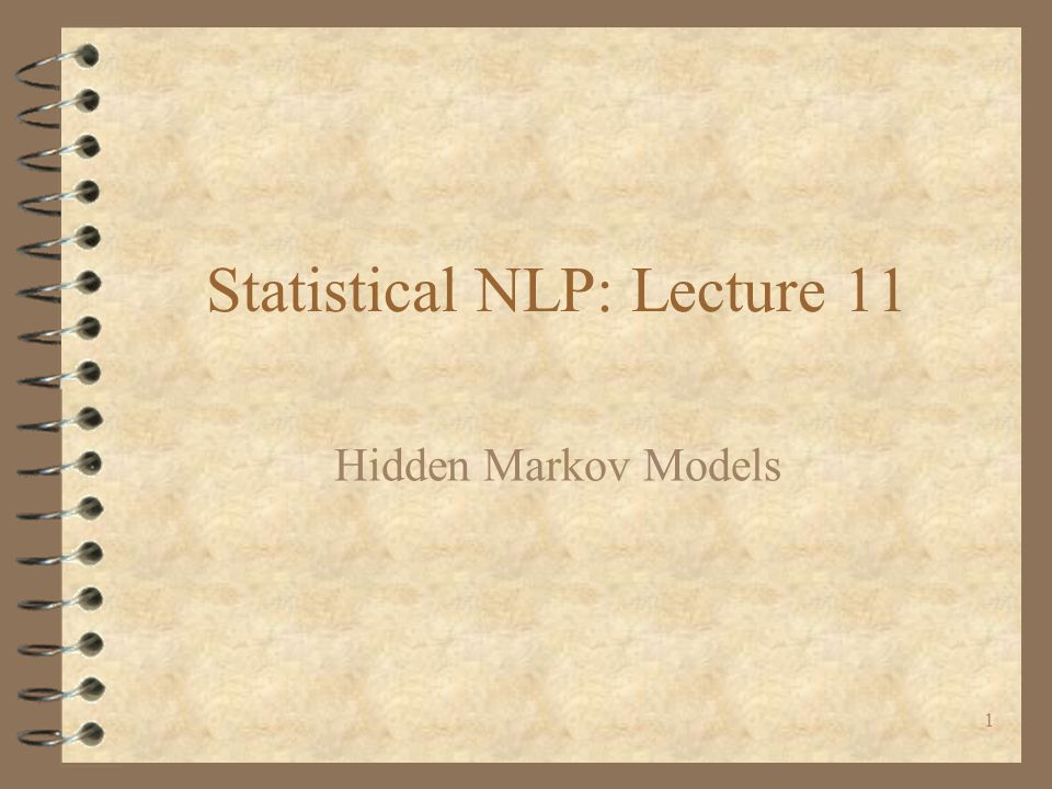 Statistical NLP: Lecture 11
