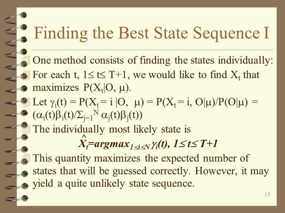 Finding the Best State Sequence I