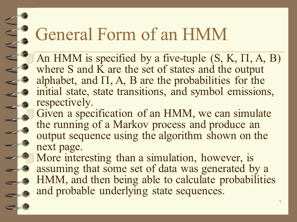 General Form of an HMM