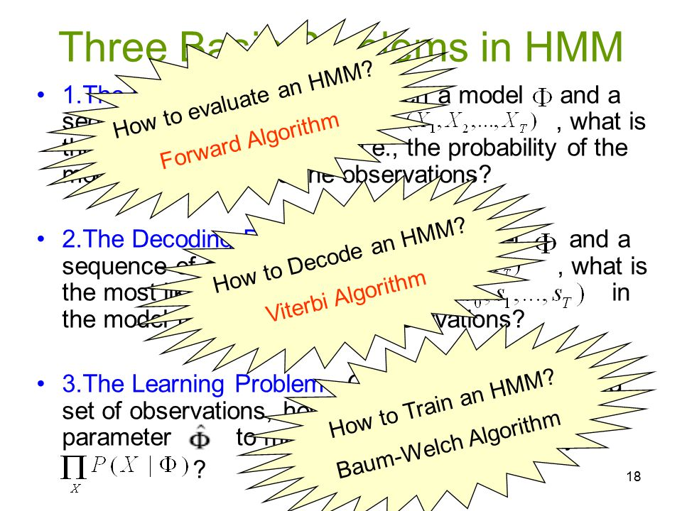 Three Basic Problems in HMM