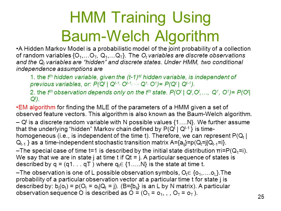 HMM Training Using Baum-Welch Algorithm