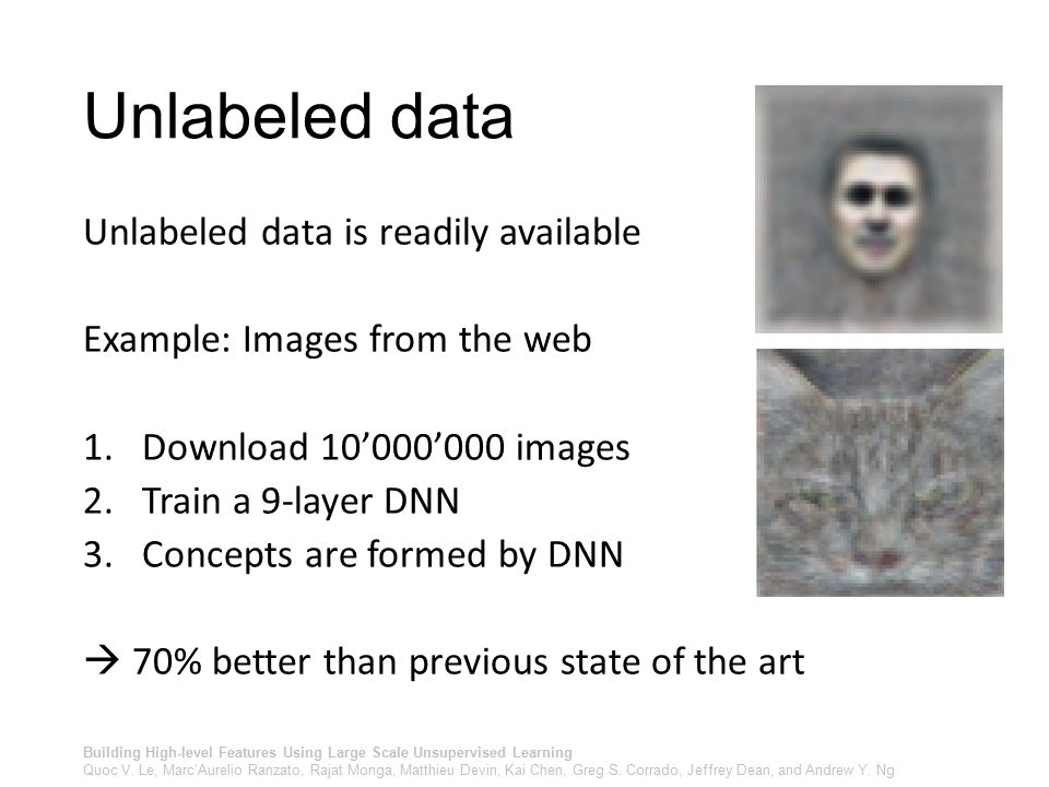Unlabeled data Unlabeled data is readily available