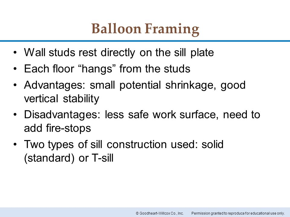 Balloon Framing Wall studs rest directly on the sill plate