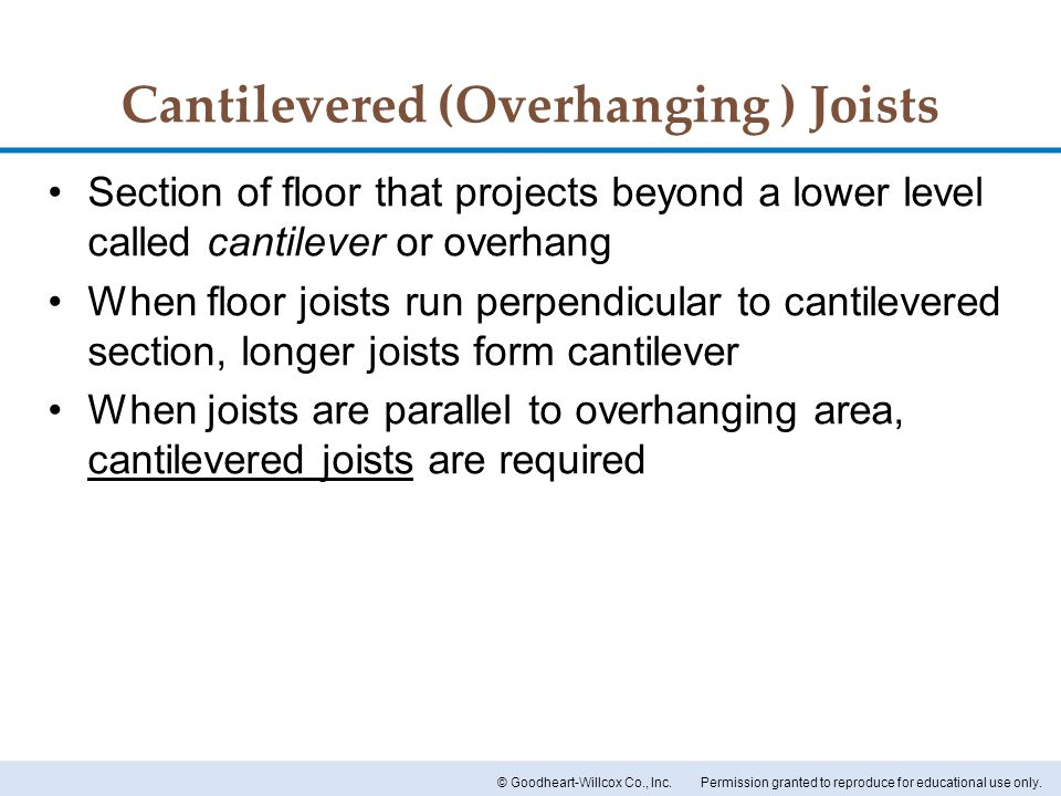 Cantilevered (Overhanging ) Joists