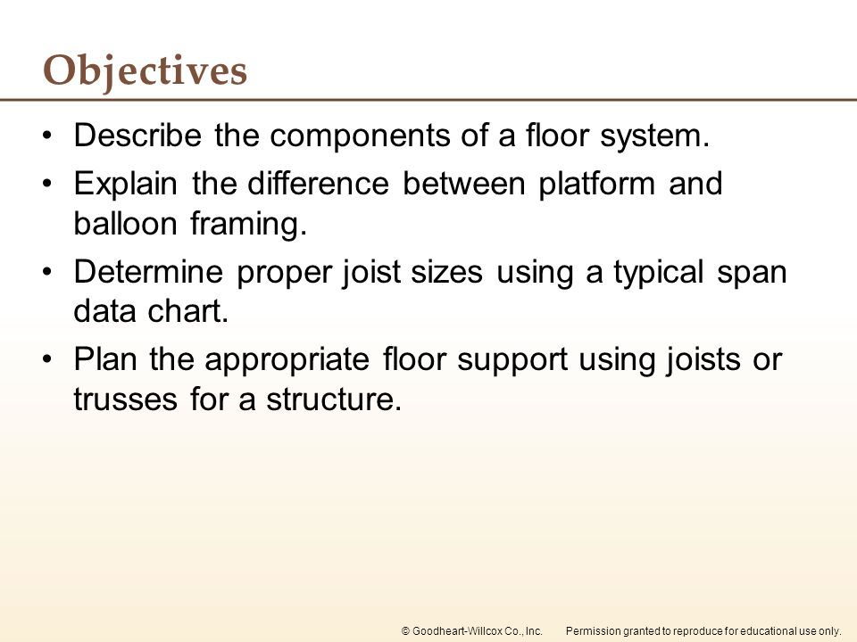 Objectives Describe the components of a floor system.