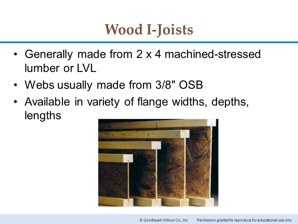 Wood I-Joists Generally made from 2 x 4 machined-stressed lumber or LVL. Webs usually made from 3/8 OSB.