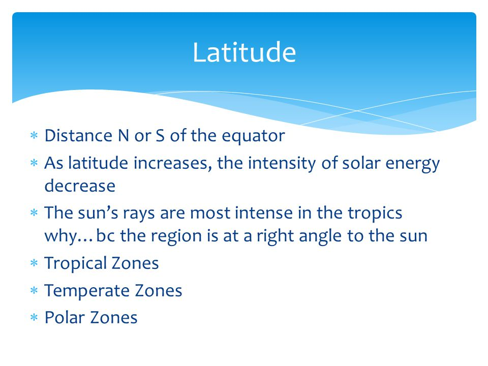 Latitude Distance N or S of the equator