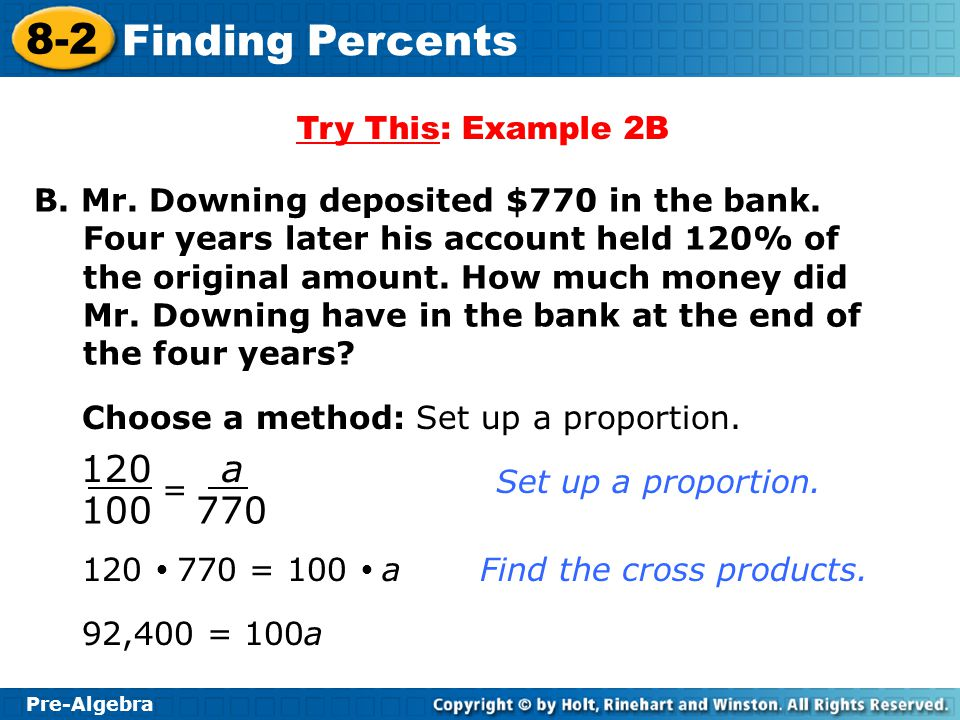lesson 8-2 finding percents homework and practice