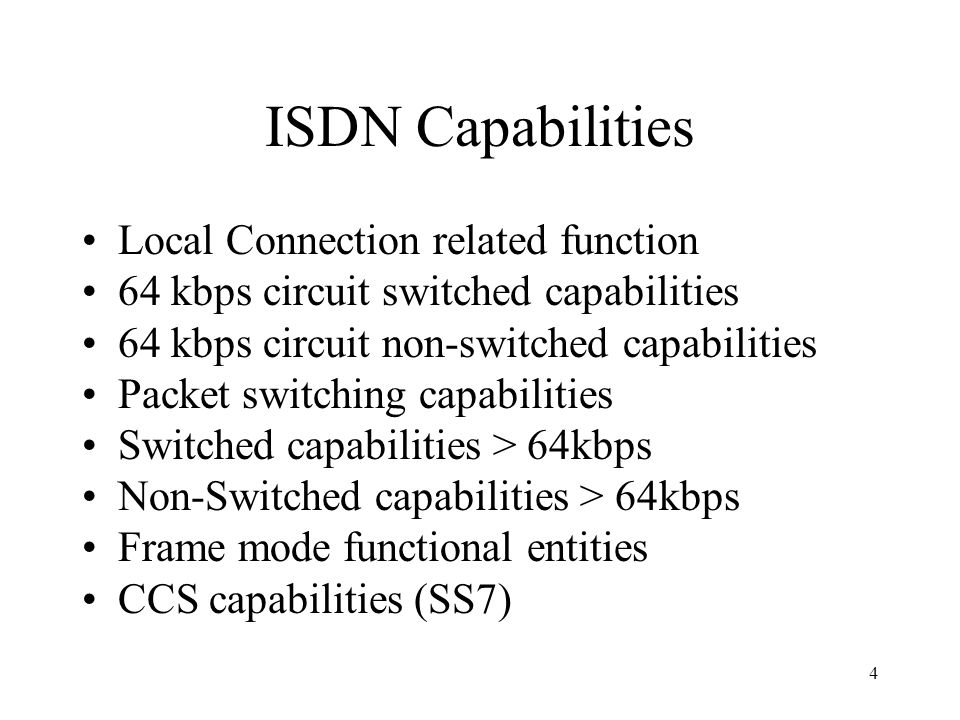 ISDN Capabilities Local Connection related function