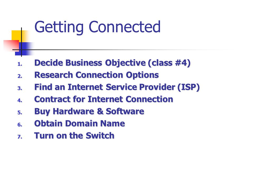 Getting Connected Decide Business Objective (class #4)