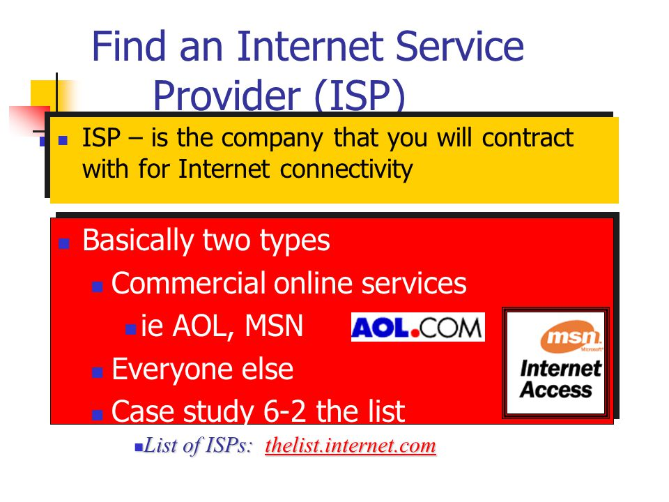 Find an Internet Service Provider (ISP)