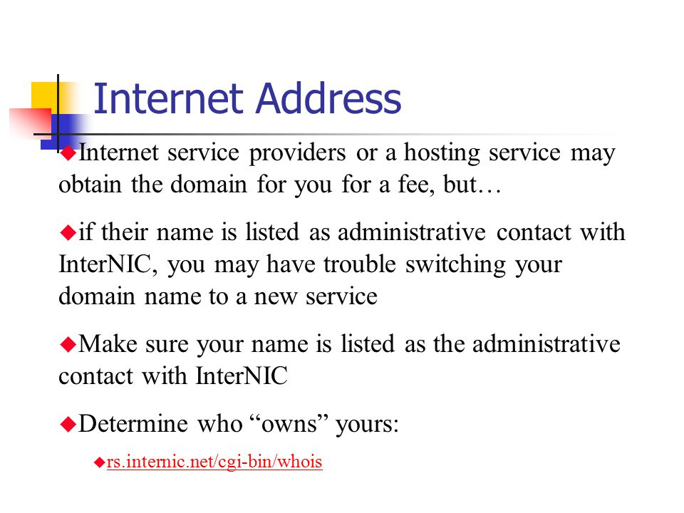 Internet Address Internet service providers or a hosting service may obtain the domain for you for a fee, but…