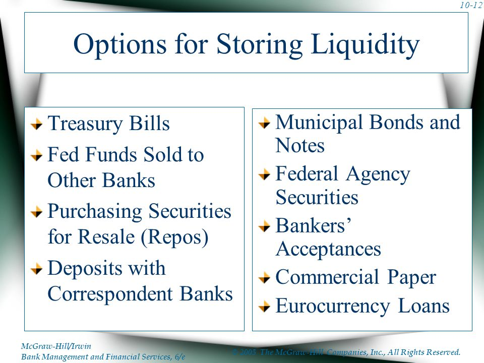 Options for Storing Liquidity