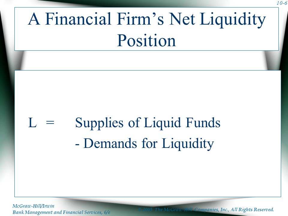 A Financial Firm's Net Liquidity Position