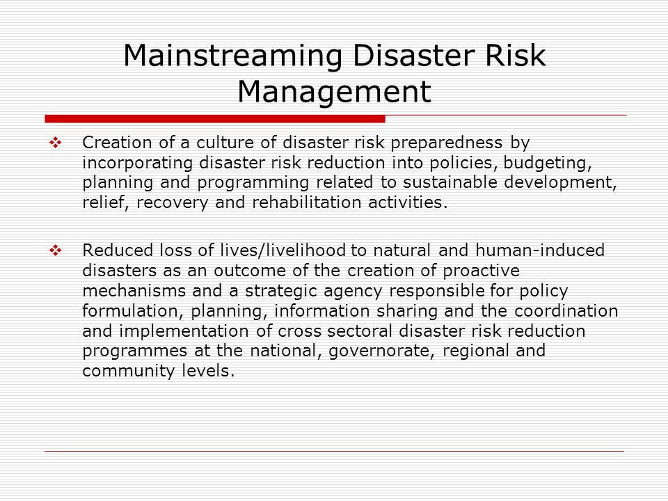 Mainstreaming Disaster Risk Management