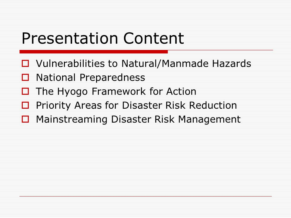 Presentation Content Vulnerabilities to Natural/Manmade Hazards