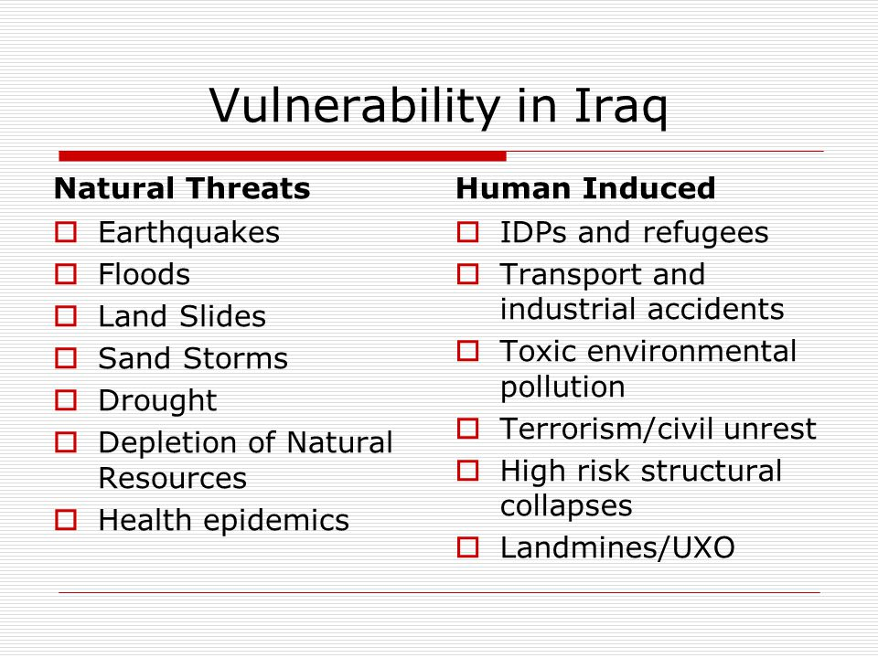 Vulnerability in Iraq Natural Threats Human Induced Earthquakes Floods