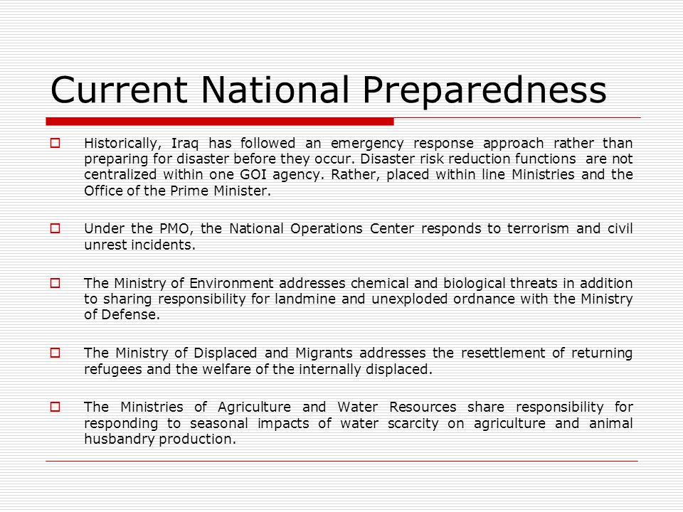 Current National Preparedness
