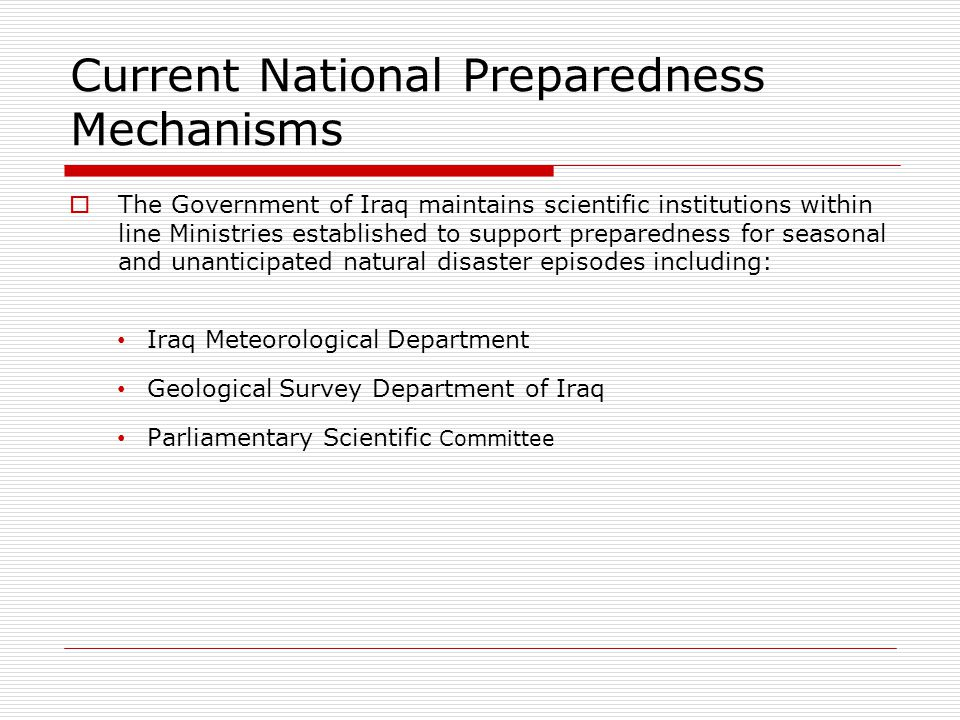 Current National Preparedness Mechanisms