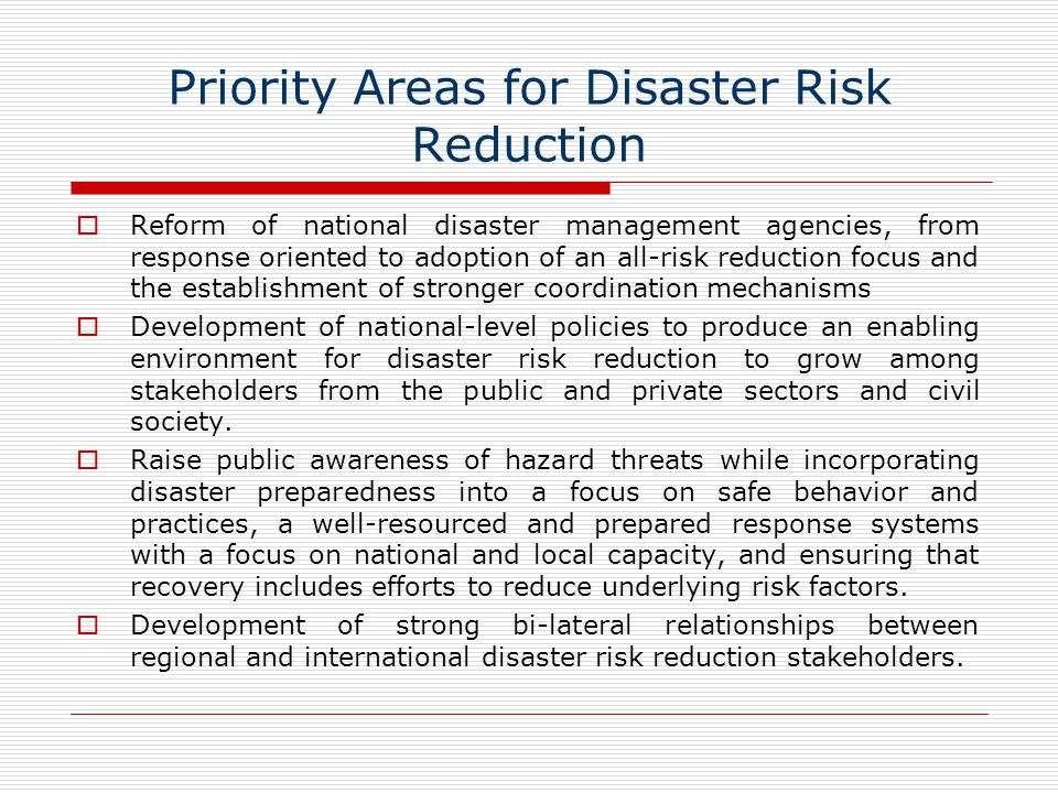 Priority Areas for Disaster Risk Reduction