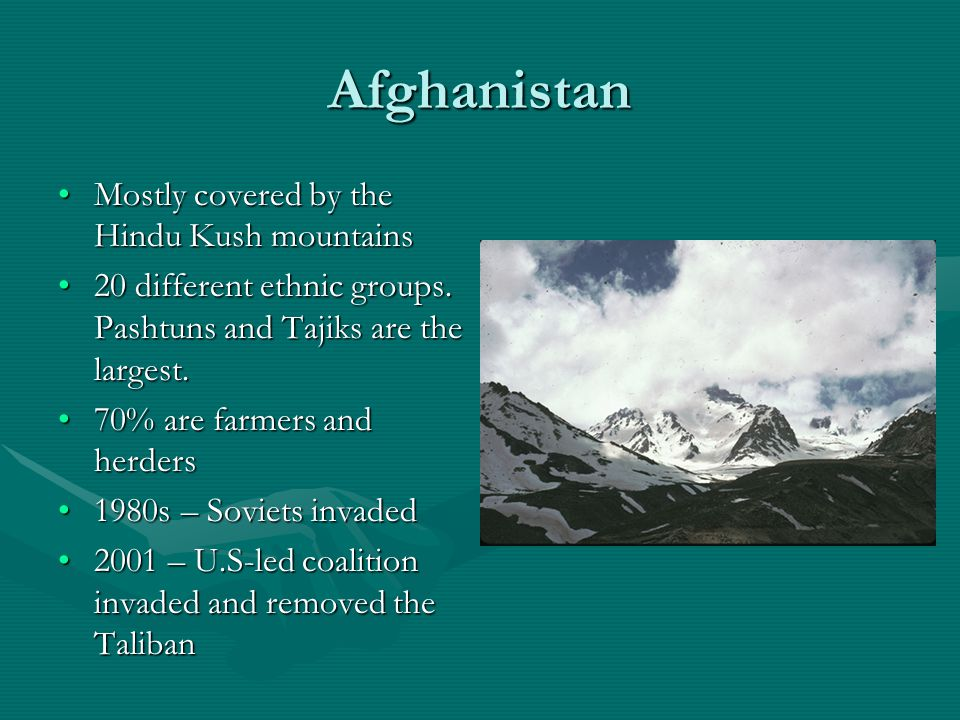 Afghanistan Mostly covered by the Hindu Kush mountains