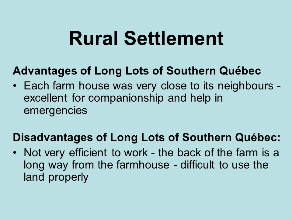 Rural Settlement Advantages of Long Lots of Southern Québec
