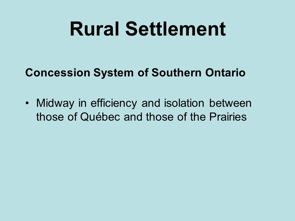 Rural Settlement Concession System of Southern Ontario