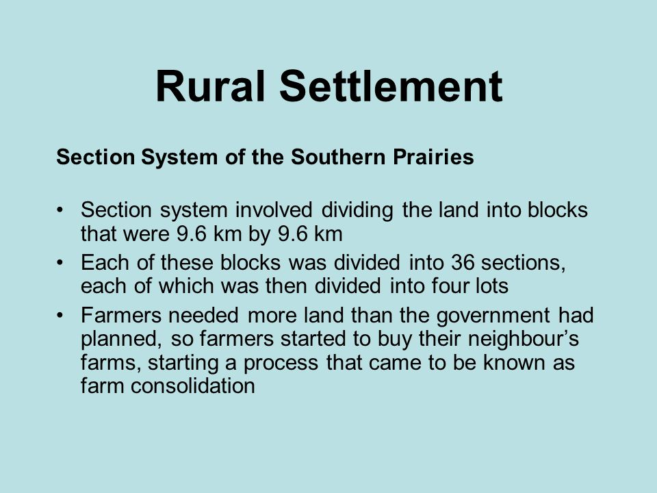 Rural Settlement Section System of the Southern Prairies