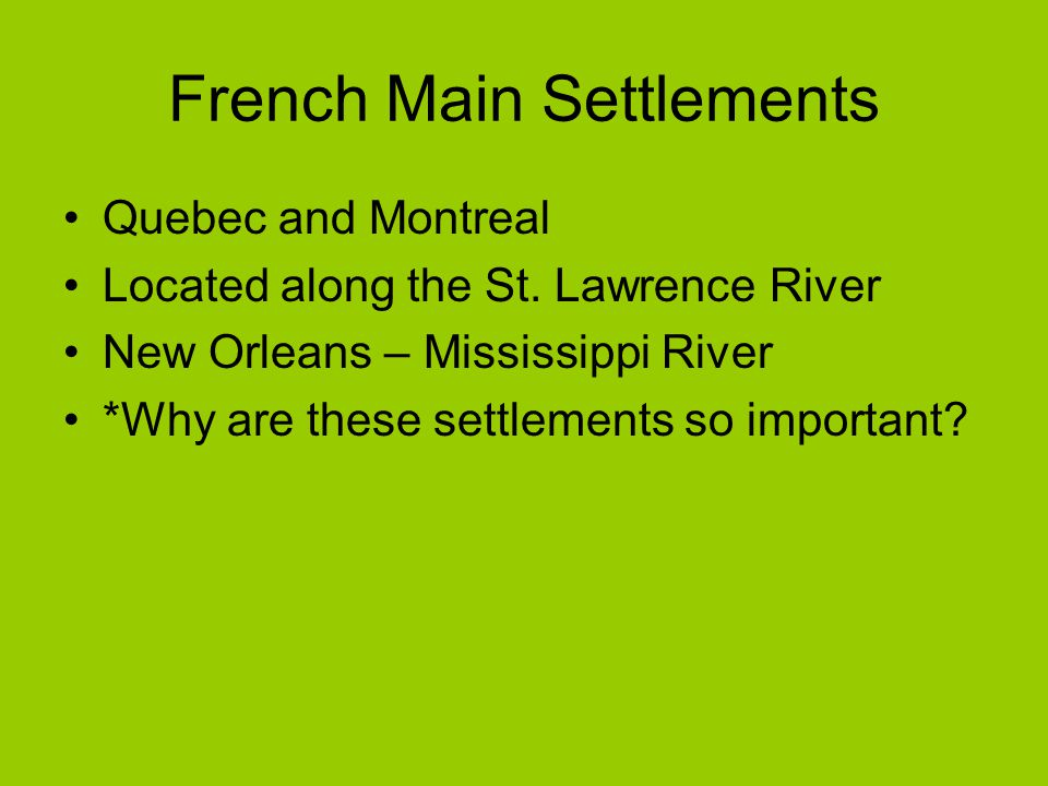 French Main Settlements