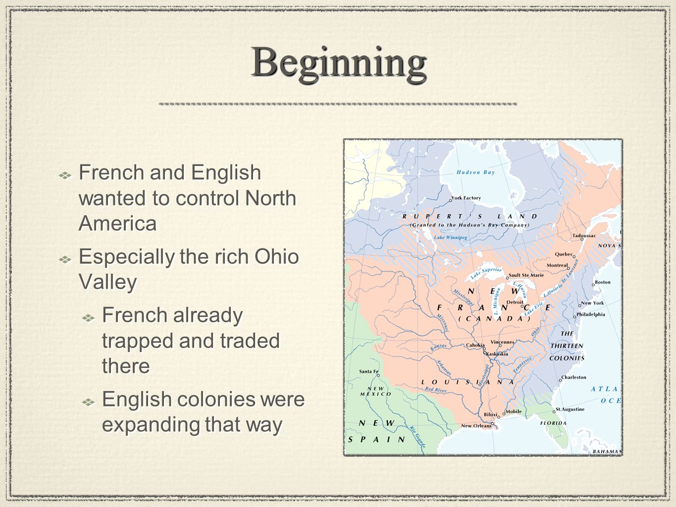 Beginning French and English wanted to control North America