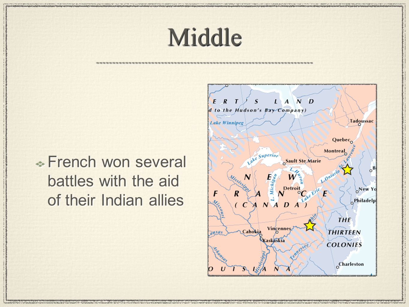 Middle French won several battles with the aid of their Indian allies