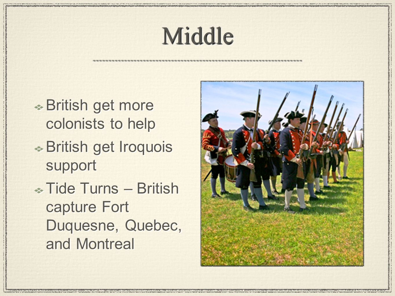 Middle British get more colonists to help British get Iroquois support