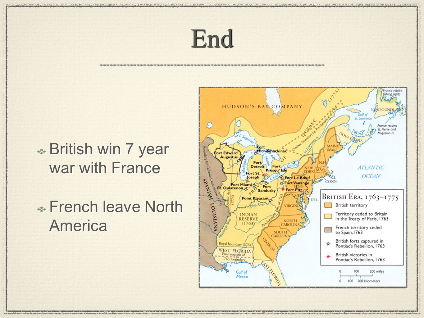 End British win 7 year war with France French leave North America