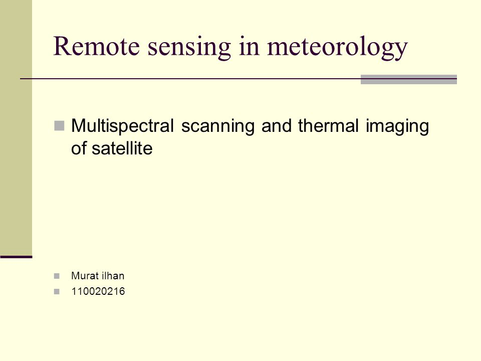 Remote sensing in meteorology