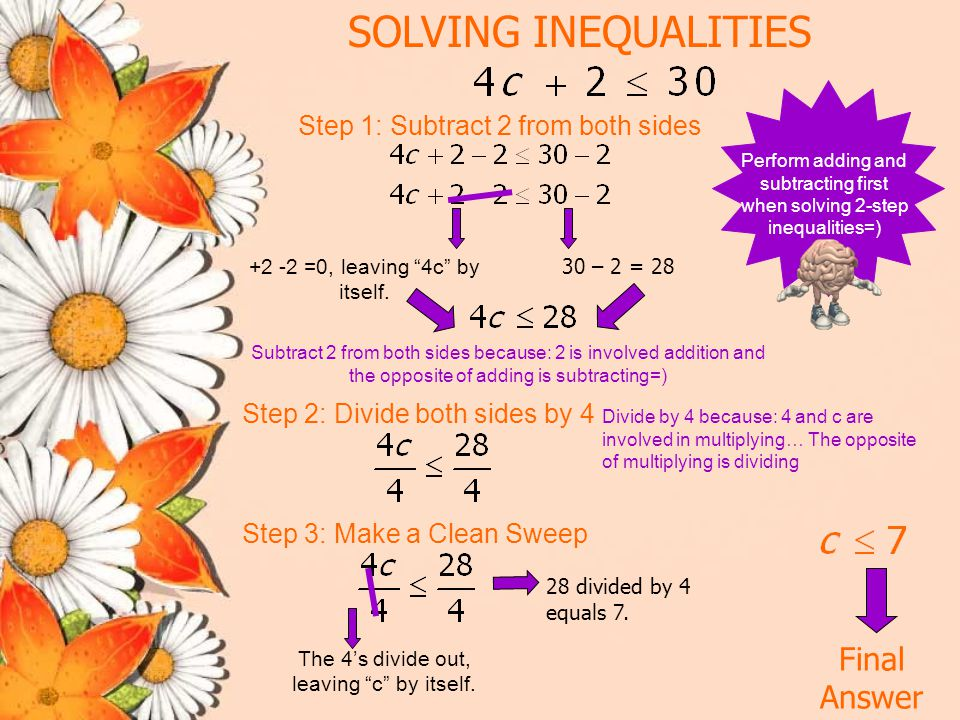 SOLVING INEQUALITIES Final Answer Step 1: Subtract 5 from