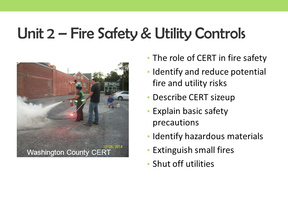 Unit 2 – Fire Safety & Utility Controls