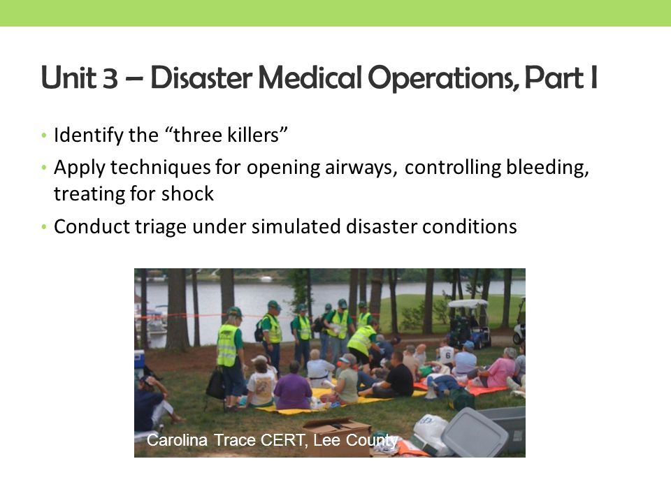 Unit 3 – Disaster Medical Operations, Part I
